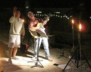 "Rich ""Schooner"" McGuire playing a house party at the house of Sarasota Bay Parrot Heads' president on Siesta Key."